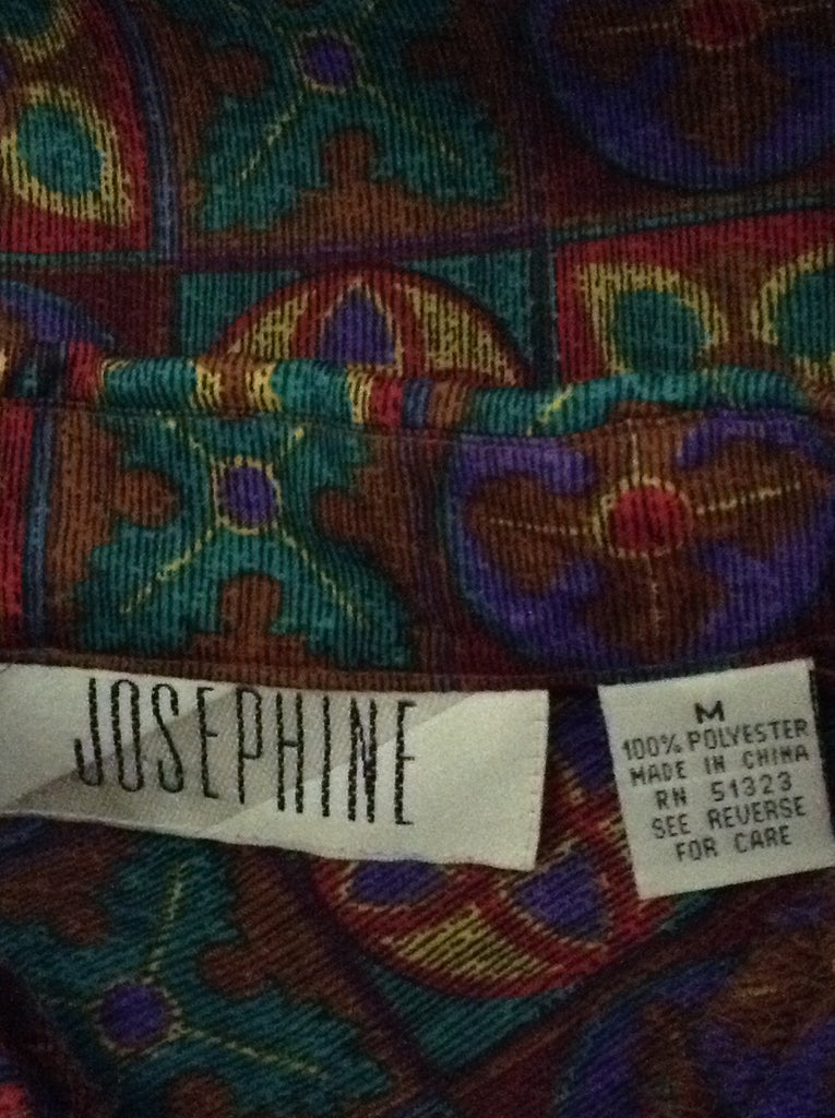 Josephine Multicolor 100% Polyester Pattern Button Down Shirt Size: Medium