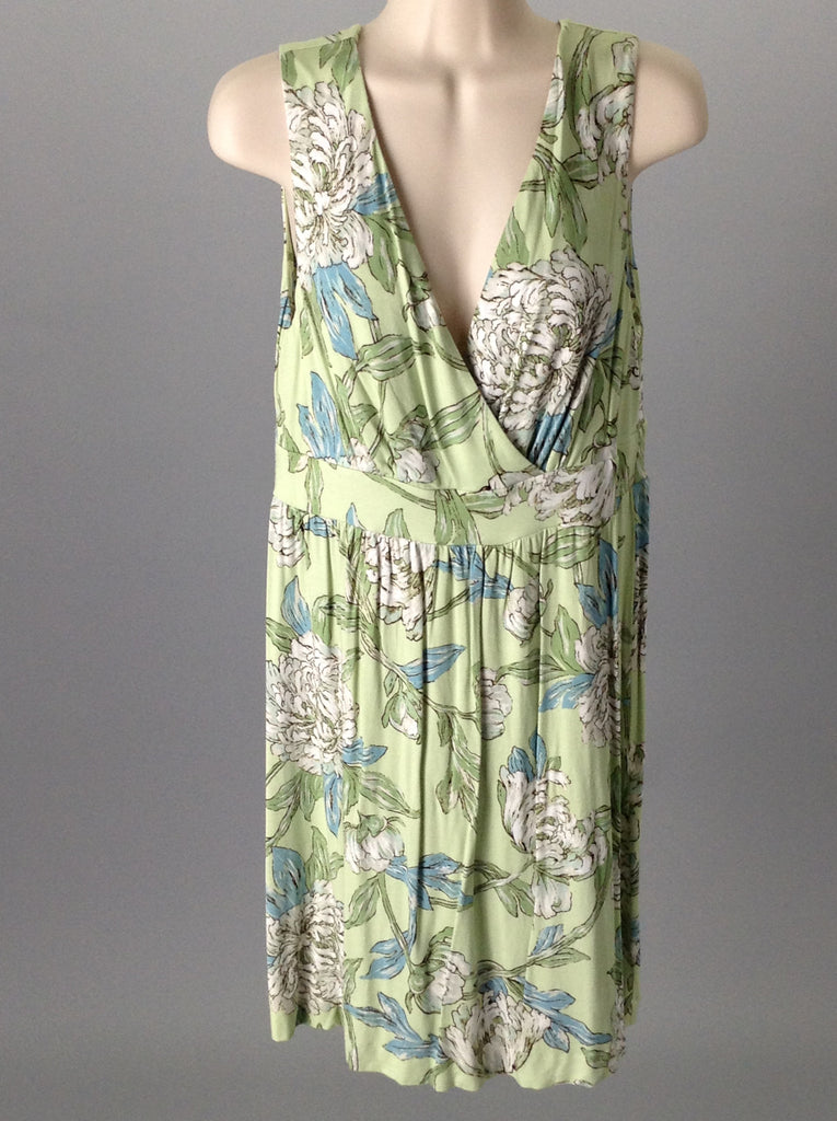 soma Green Floral Pattern Casual Sun Dress Size: Large