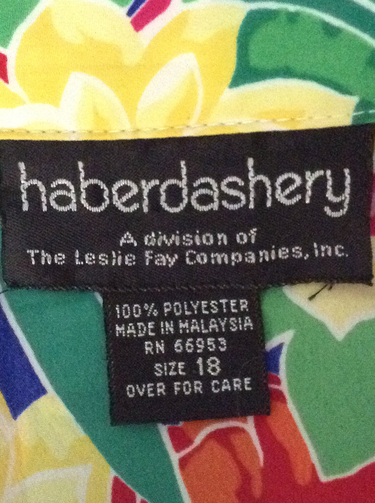 Haberdashery 100% Polyester Bright-Vibrant Button Down Shirt Size: 18 R