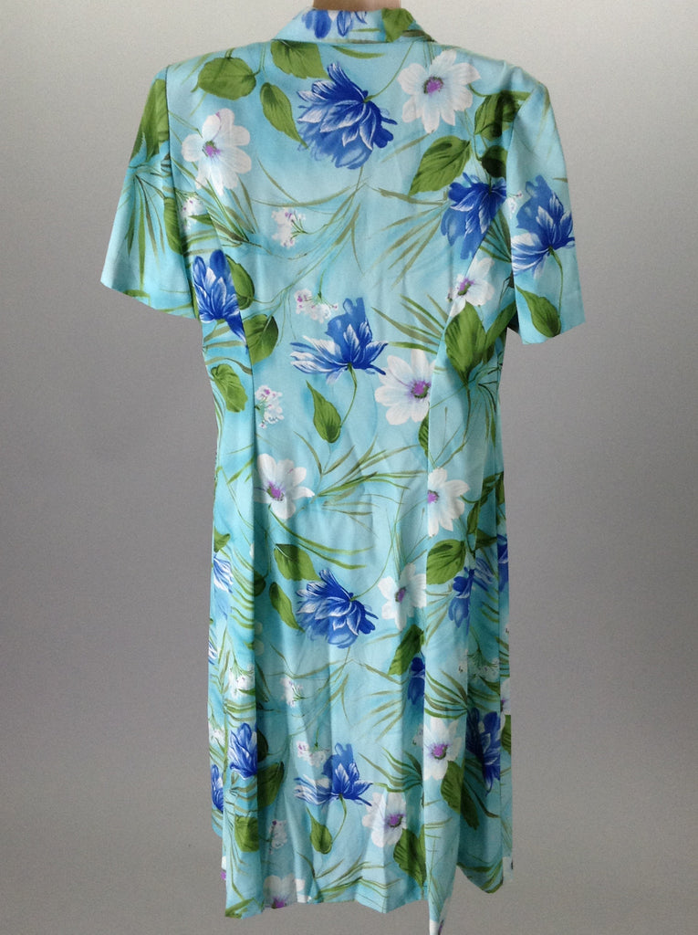 Courtney Blue 100% Polyester Floral Pattern Casual Traditional Dress Size: 10 R