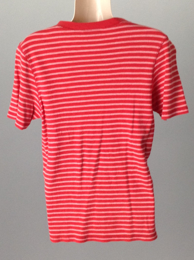 Red 95% Cotton 5% Spandex Striped Traditional Blouse, Size: Medium