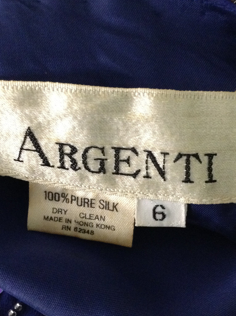 Argenti Blue 100% Silk Sequins Dressy Evening Gown Size: 6