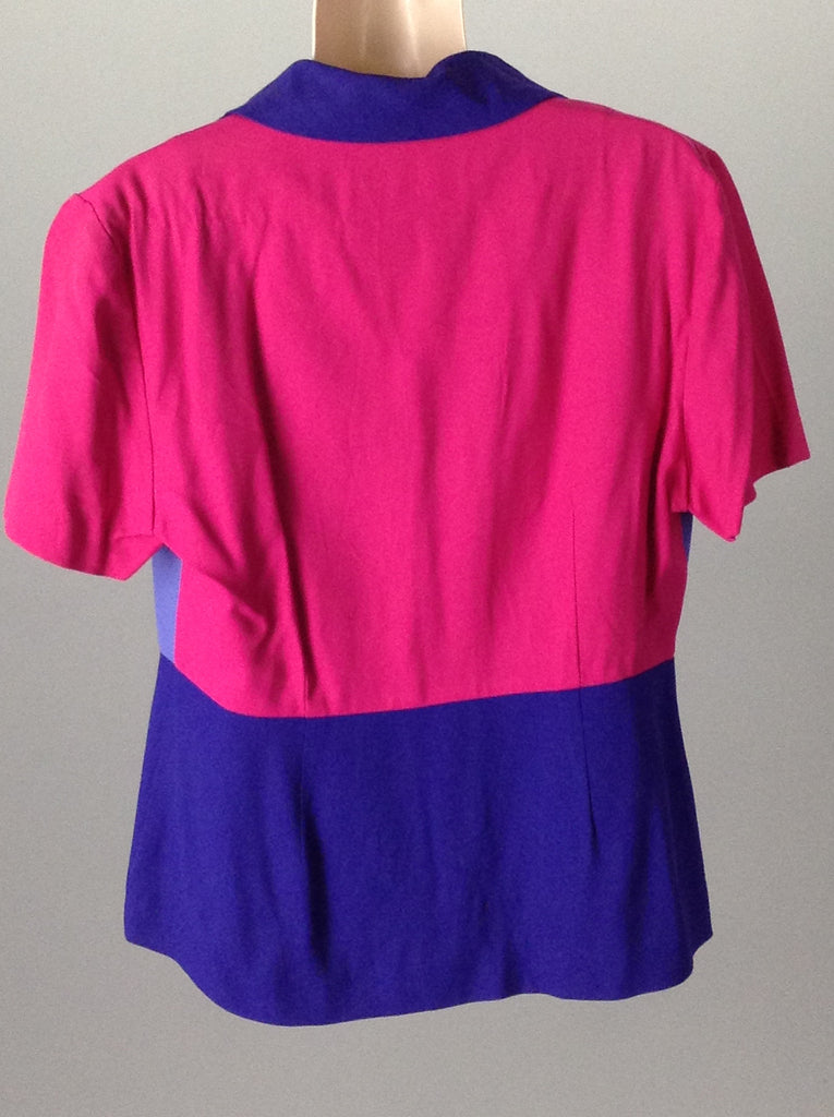 Multicolor 55% Rayon 45% Acetate Blocked Traditional Blouse, Size: 12