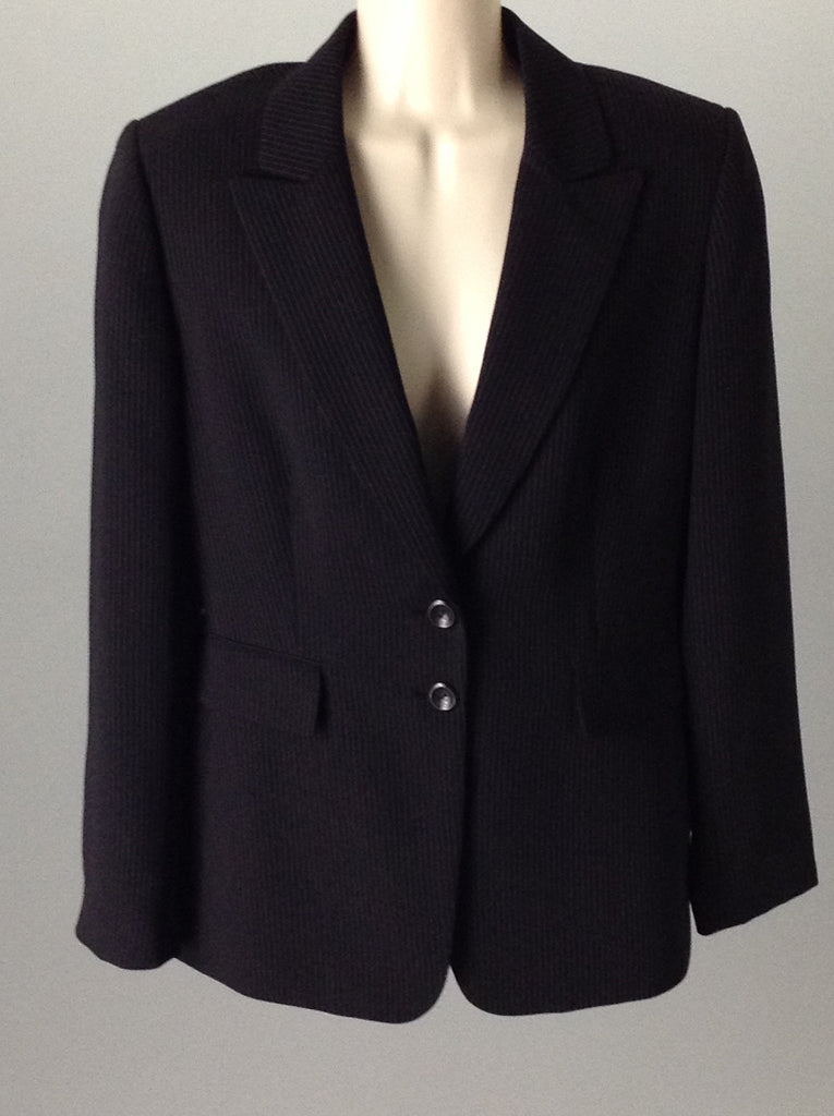 Tahari Black Striped 2-Button Blazer Size: 6 R