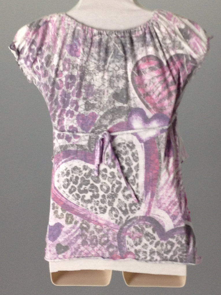 Purple 60% Cotton 40% Polyester Printed Design Tunic Top, Size: Medium