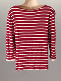 No Brand Red Striped T-Shirt Size: Large