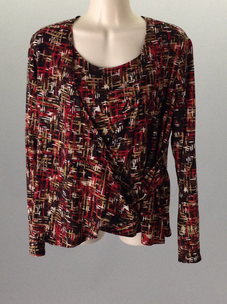 Briggs New York Red Petite Wrap Top Size: Large
