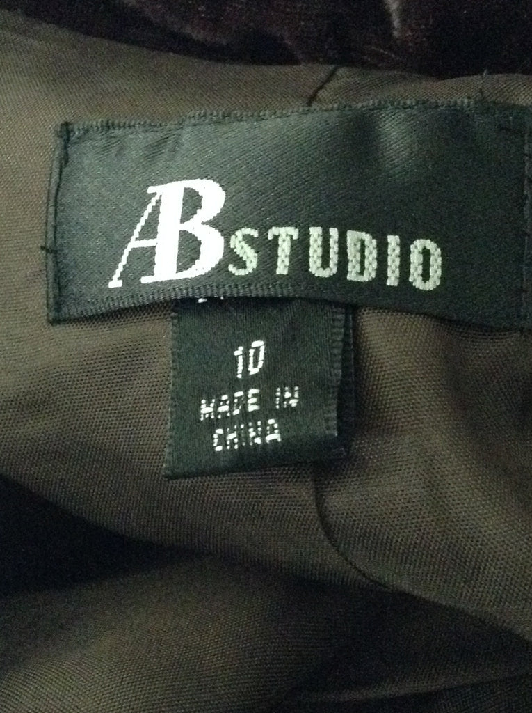 AB studio Brown 90% Rayon 10% Nylon Plain Basic Jacket Size: 10 R