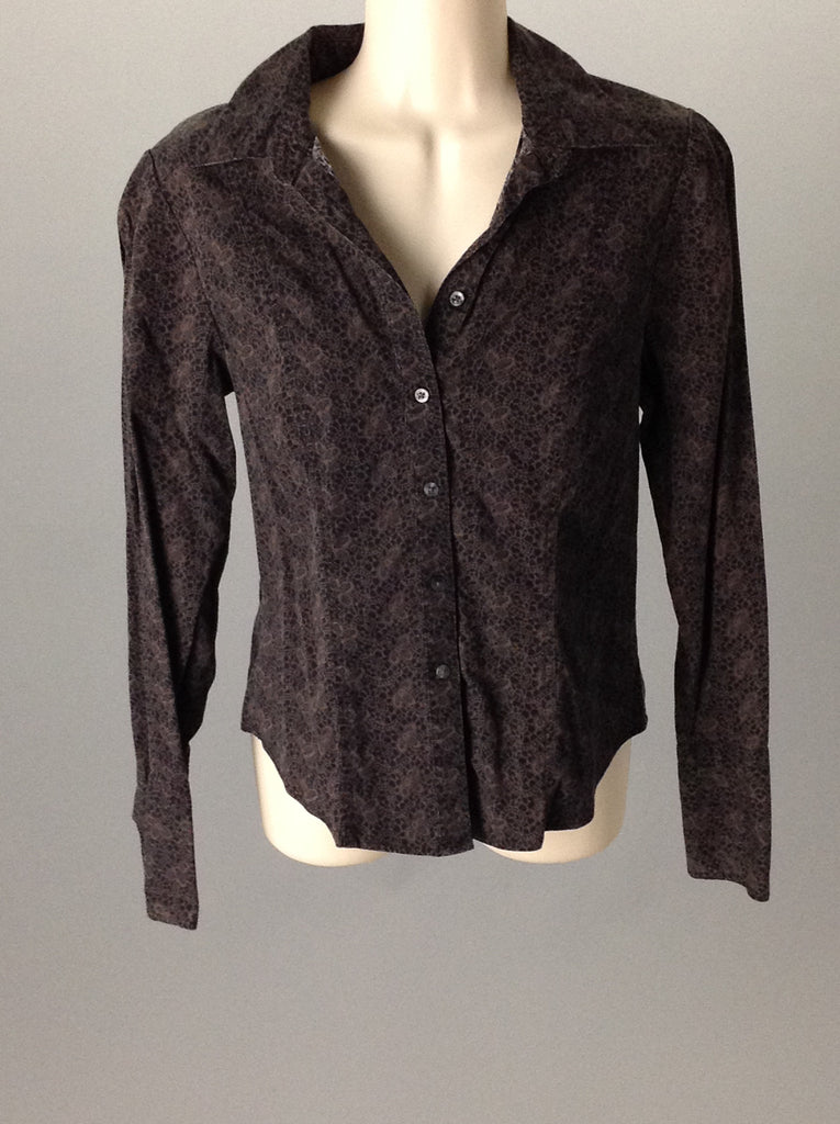 Dockers Black 95% Cotton 5% Lycra Pattern Button Down Shirt Size: Small