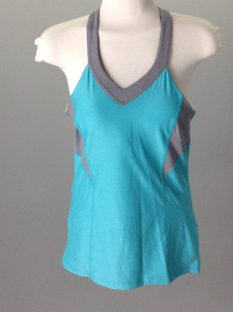 Blue 50% Spandex 50% Polyester Two toned Athletic Shirt, Size: Medium