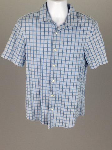 Blue Pattern Dress Shirt, Size: Medium