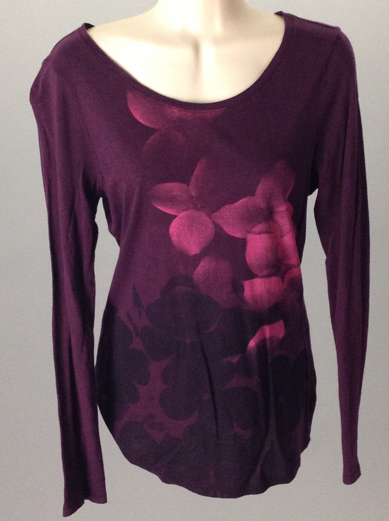 Purple 100% Cotton Floral Pattern Tunic Top, Size: Medium