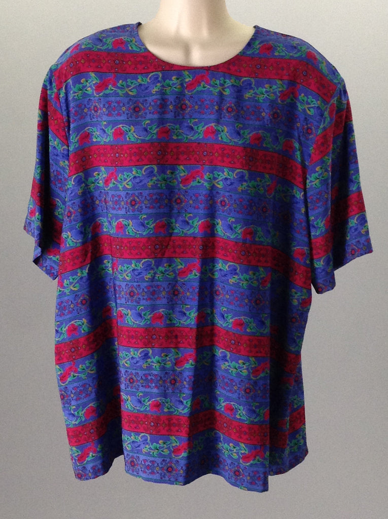 Koret Blue 100% Polyester Bright-Vibrant Graphic T-Shirt Size: X-Large