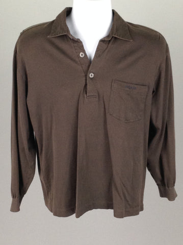 Brown Plain Casual Long Sleeve Shirt, Size: Large