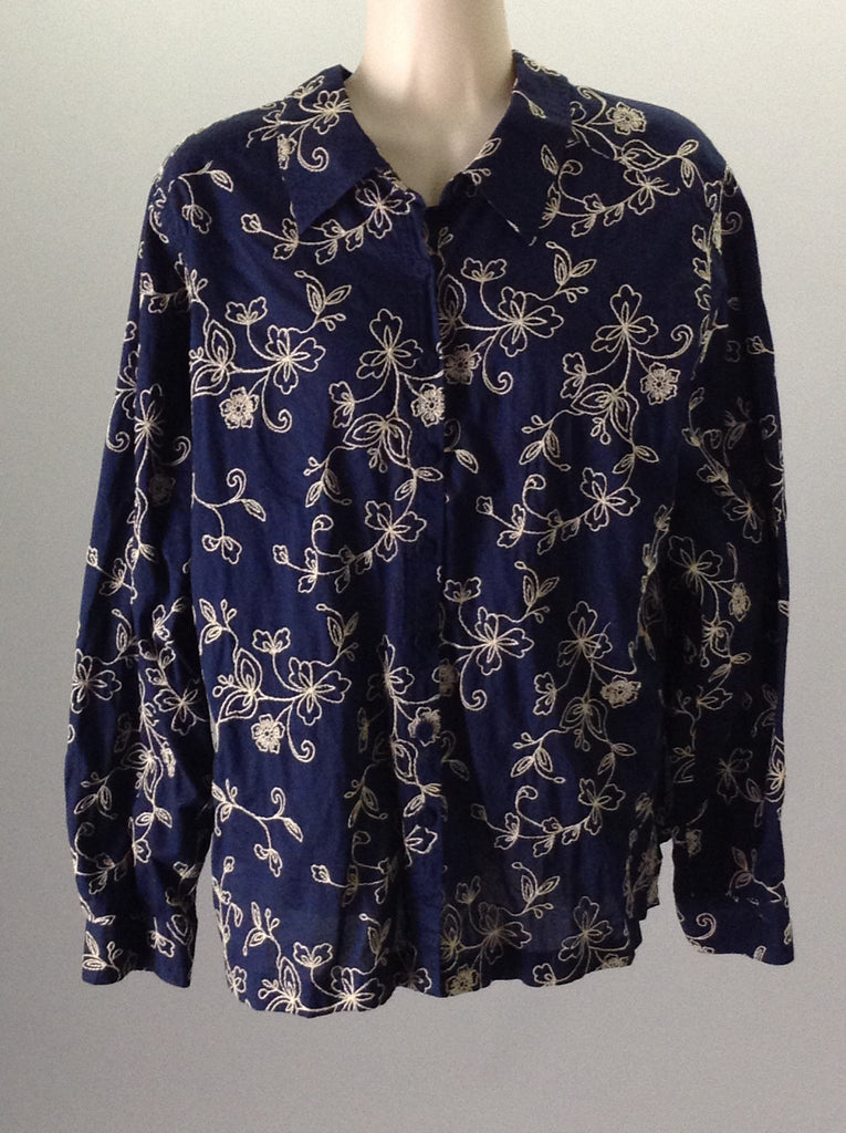 No Brand Blue 100% Cotton Floral Pattern Button Down Shirt