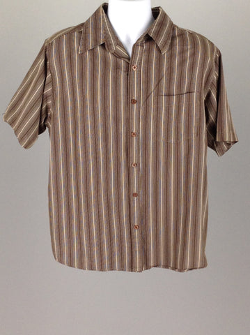 Brown Pinstripe Casual Button Up Shirt, Size: Large