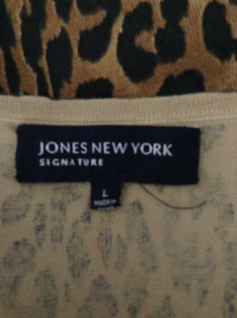 Jones New York 75% Silk 25% Polyester Pattern Traditional Blouse Size: Large