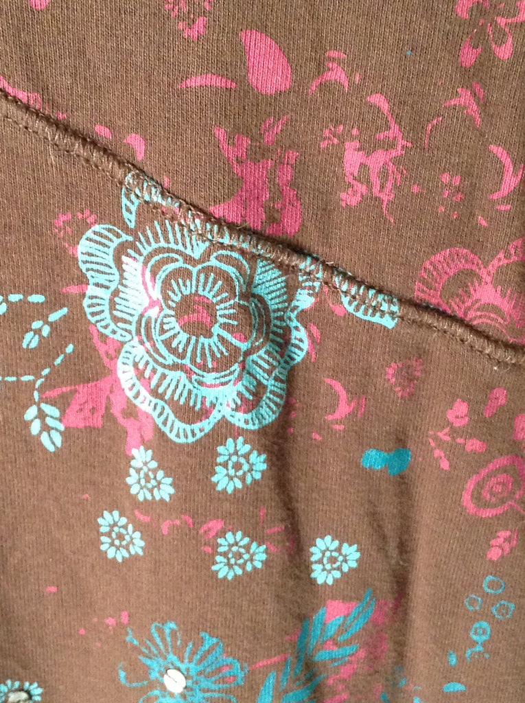 Analogy Brown 100% Cotton Floral Pattern Traditional Blouse Size: X-Large