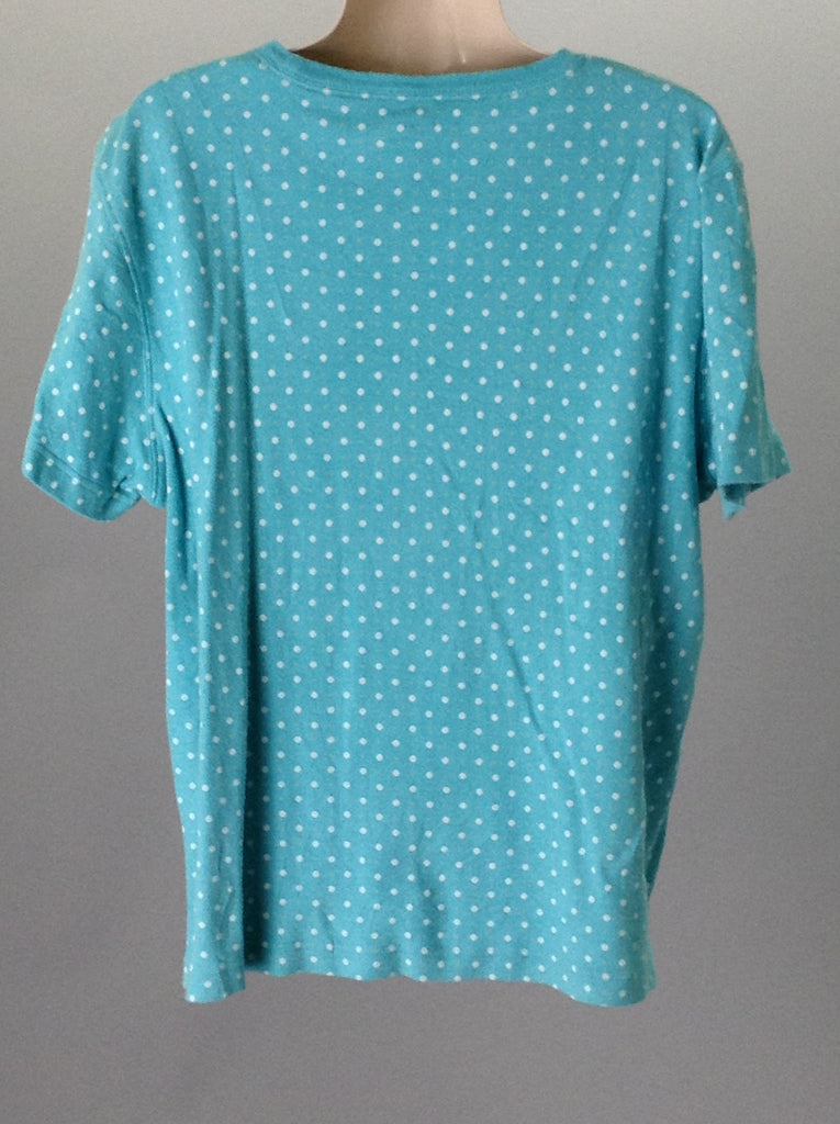 Kim Rogers Blue 100% Cotton Polka Dot Traditional Blouse Size: Large