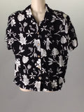 Dressbarn Black 100% Rayon Hawaiian Button Down Shirt Size: Medium