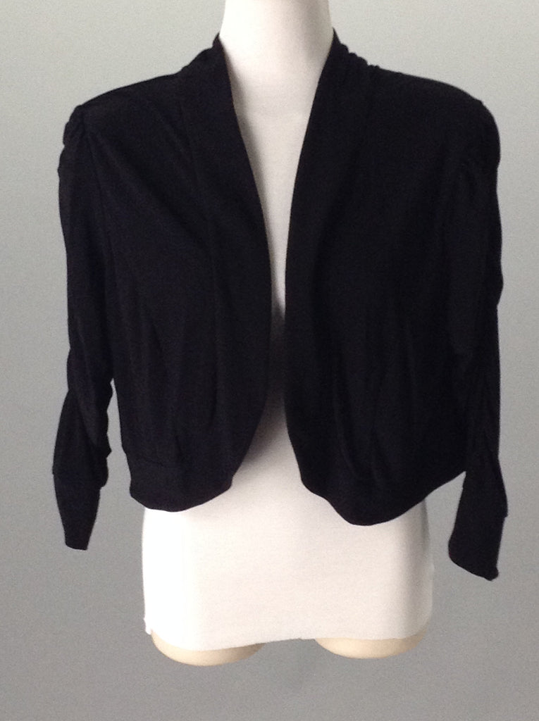 Black 95% Polyester 5% Spandex Plain Regular Shrug Sweater, Size: Large