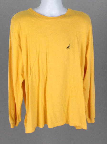 Yellow Plain Long sleeve TT-Shirt, Size: 2X-Large