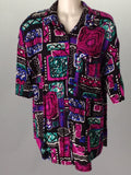 Bobbie Brooks Multicolor 100% Rayon Funky Button Down Shirt Size: Medium