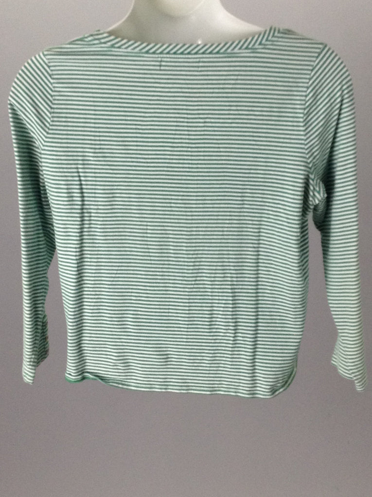 Green 90% Cotton 10% Spandex Striped Traditional Blouse, Size: X-Large