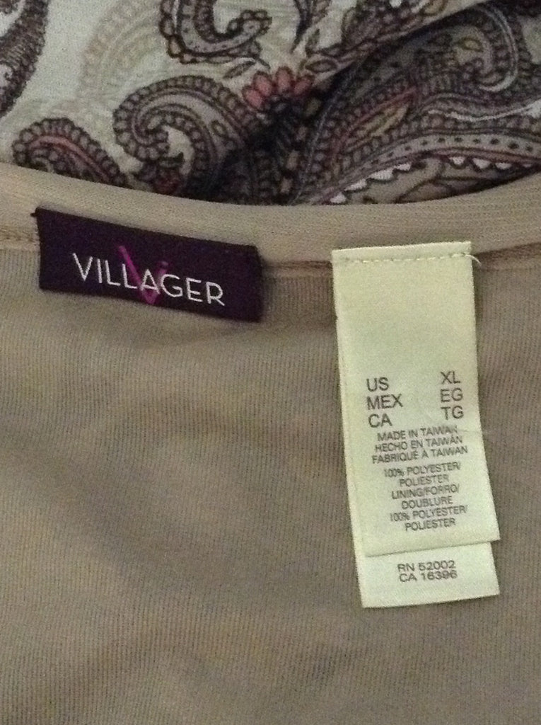 Villager Beige 100% Polyester Pattern Knit Top Size: X-Large