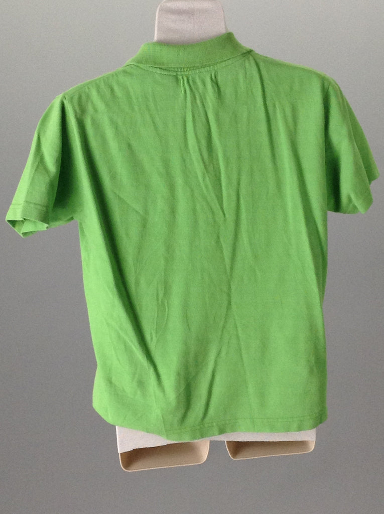 Green 100% Cotton Bright-Vibrant Polo Shirt, Size: Medium