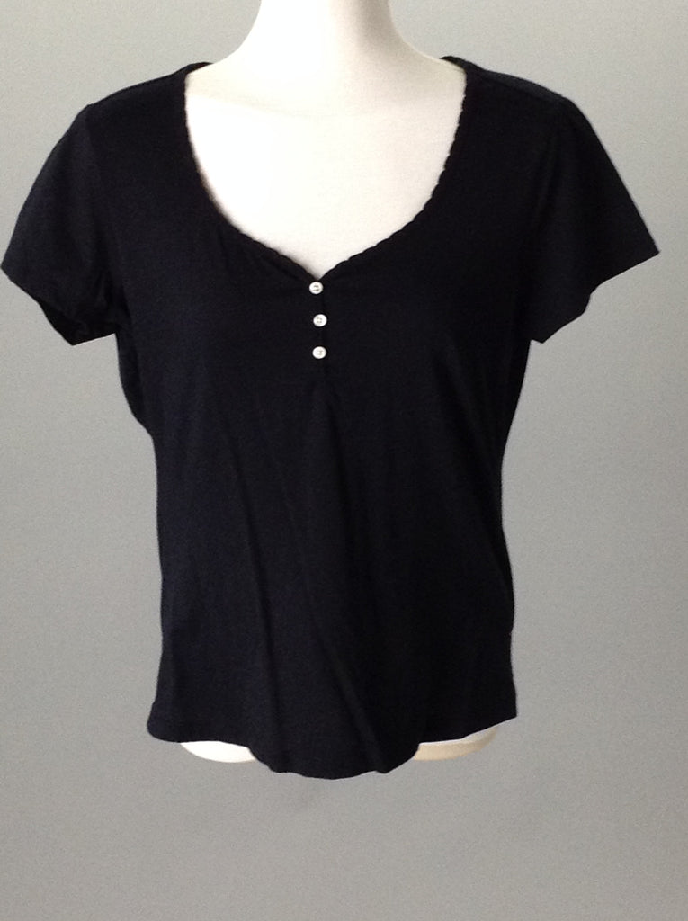Jockey Black 60% Cotton 40% Polyester Plain Knit Top Size: Small