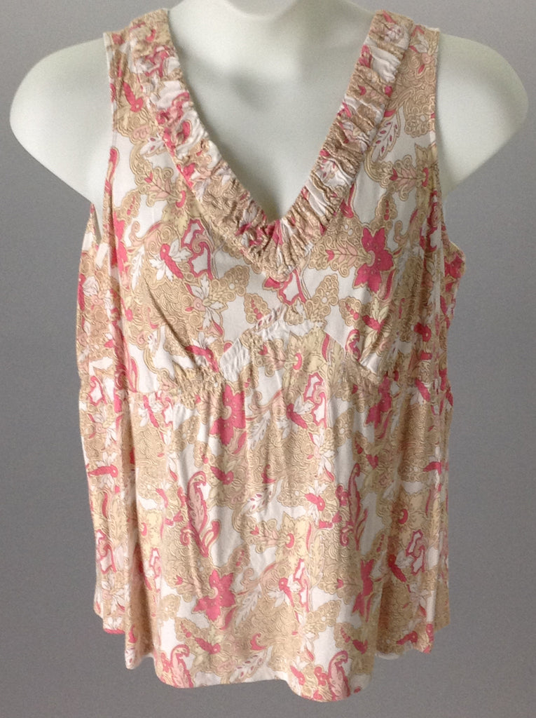White Cotton Floral Pattern Tank Top, Size: 16/18 Plus