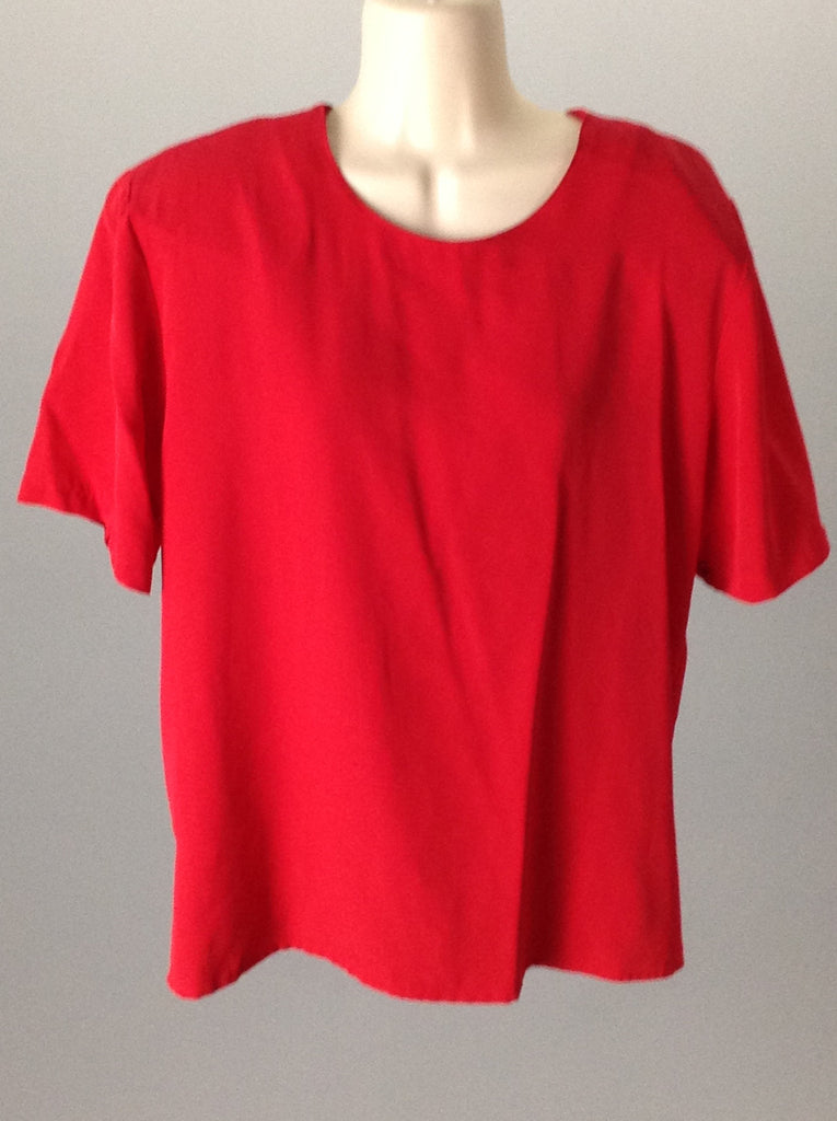 Impressions Red 100% Polyester Plain Traditional Blouse Size: Medium
