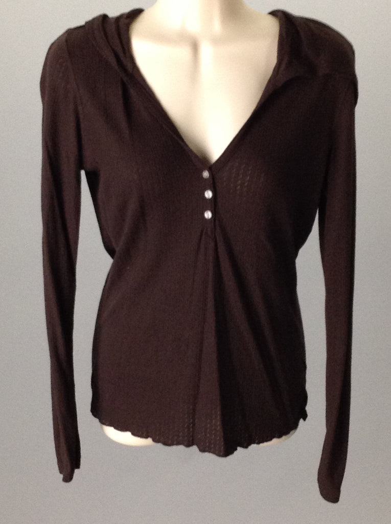 Lucy Brown Plain Traditional Blouse Size: Medium