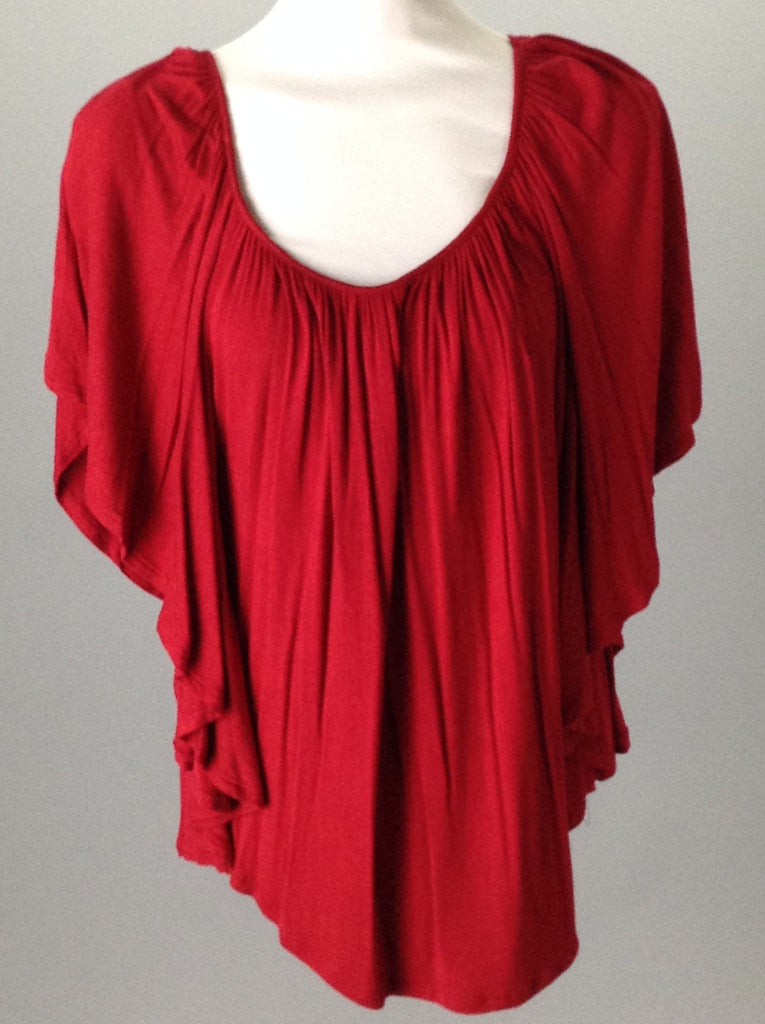 Storm Red 95% Rayon 5% Spandex Bright-Vibrant Traditional Blouse Size: Small