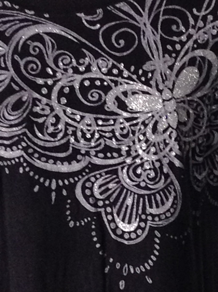 Twisted Black 100% Cotton Printed Design Traditional Blouse Size: Large