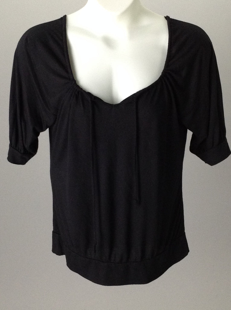 New Directions Black 65% Polyester 35% Rayon Plain Tunic Top Size: Medium