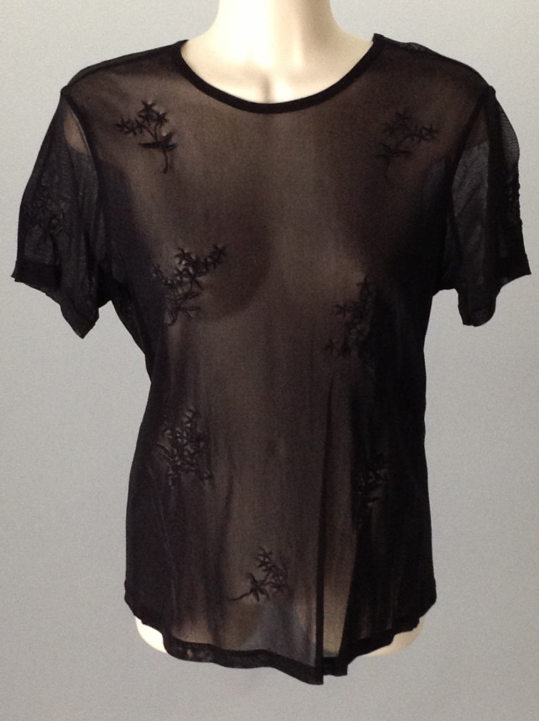 ny and co Black 100% Nylon Sheer Traditional Blouse Size: Large
