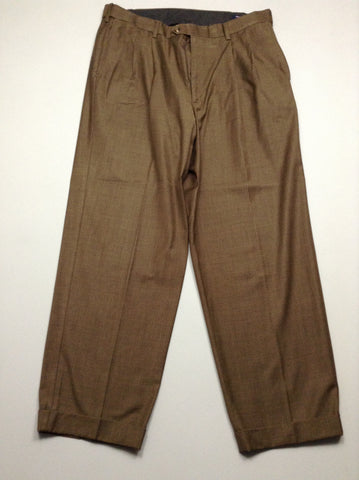 Brown 80% Polyester 20% Rayon Plain Dress Pants, Size: 37.0