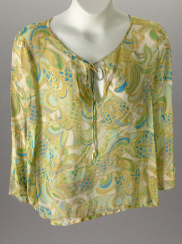 Green 100% Silk Hippie Custom, Size: Large