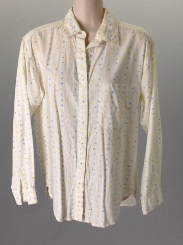 Beige 100% Cotton Funky Casual Long sleeve Button Up Shirt, Size: Small