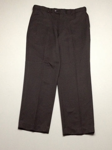 Black 100% Polyester Plain Flat Front Dress Pants, Size: 36/30 R