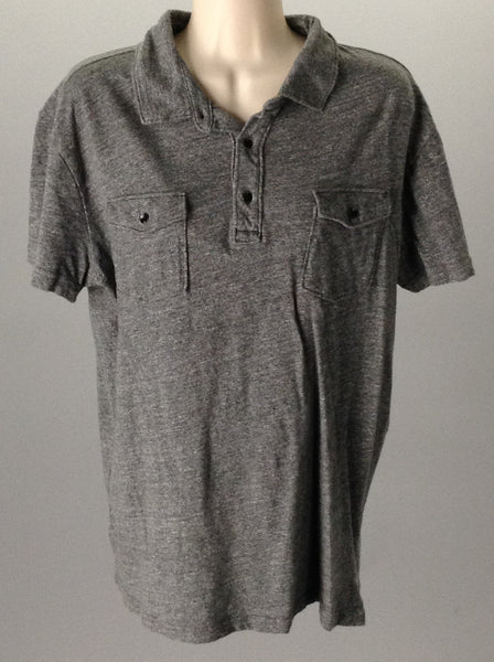 Gray 100% Cotton Plain Casual Short Sleeve Shirt, Size: Large