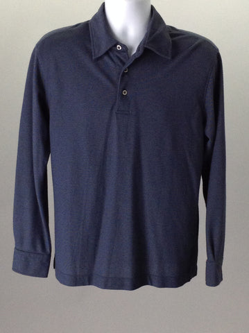 Blue 65% Cotton 35% Polyester Plain Casual Long Sleeve Shirt, Size: Small