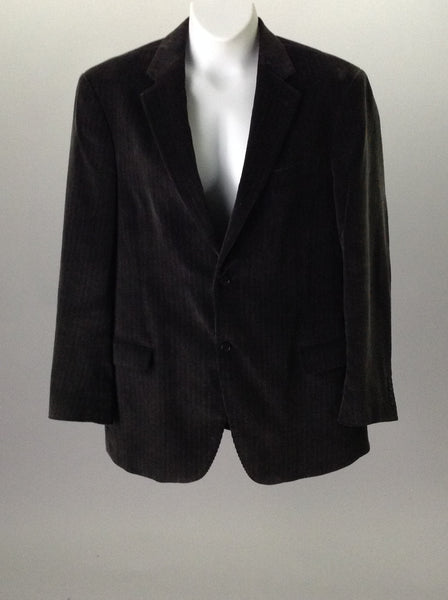 Black 100% Cotton Herringbone 2-Button Blazer, Size: 44 BT