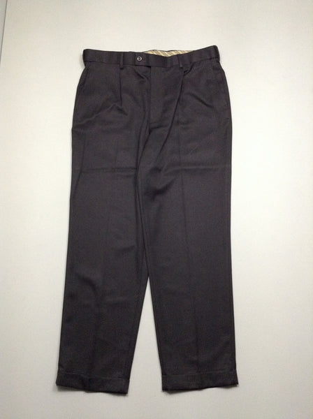 Black 100% Polyester Plain Dress Pants, Size: 36/30 R
