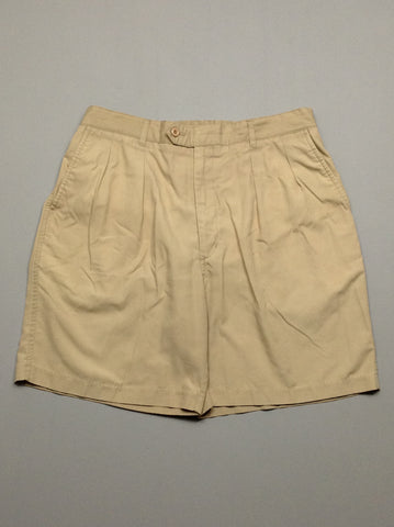 Brown 65% Polyester 35% Cotton Plain Khakis Shorts, Size: 36 R