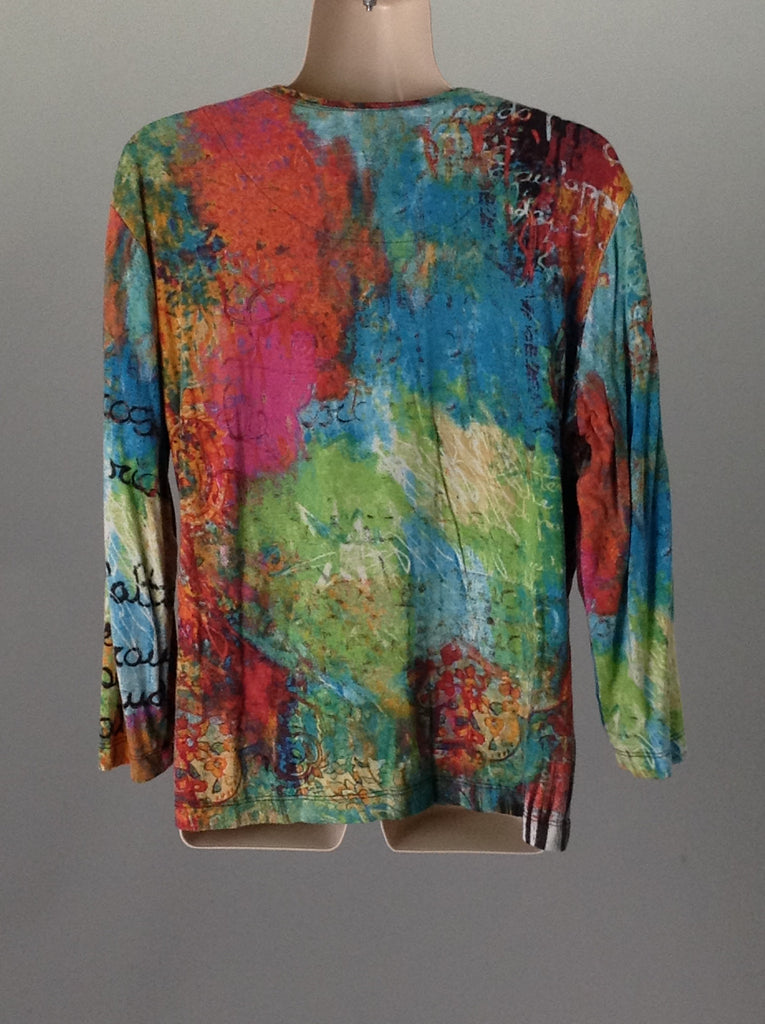 Chicos Multicolor 95% Rayon 5% Spandex Funky Shirt Size: 1 R