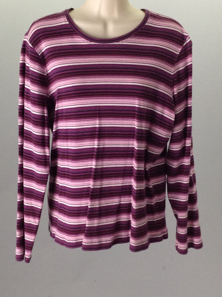 Liz Claiborne Multicolor 95% Cotton 5% Spandex Striped Knit Top Size: X-Large