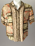 Connections Related Separates Multicolor 100% Rayon Funky Button Down Shirt Size: 12 / 14 R